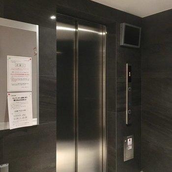 銀色に光り輝くエレベーター。