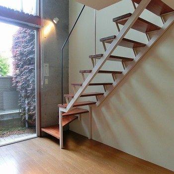 階段は読書の定位置になりそう!※写真は別部屋