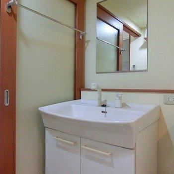 シャワーノズルのある洗面台※写真は別部屋