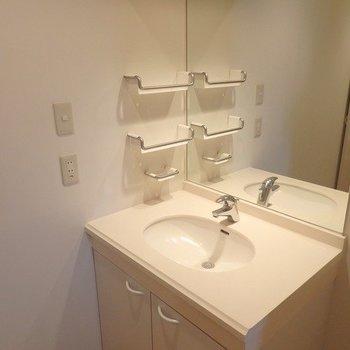 洗面台はすこしレトロな感じ。※写真は3階の同間取り別部屋です。