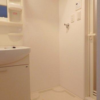 洗濯機ももちろん室内置き。