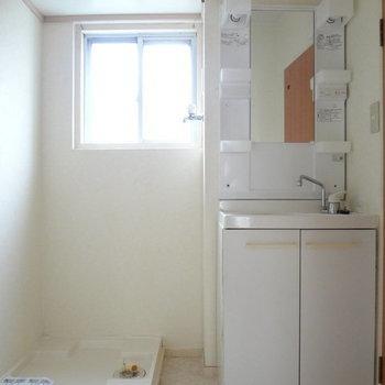 洗面台はドレッサータイプで使いやすそう。※写真は別室です。