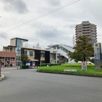 小手指駅周辺。駅直結で飲食店やカフェなどもあります。