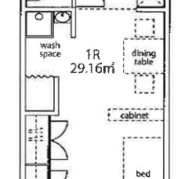 間取り図のように家具を置いてもゆとりのある広さ。