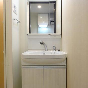 独立洗面台は清潔感◎シャワーつき。