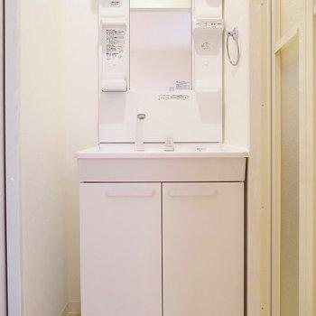 収納力ある洗面台もピカピカ!