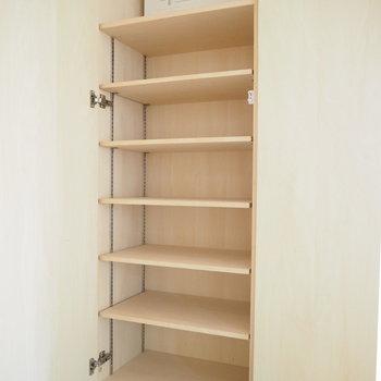 押して開けるタイプの扉。靴箱もたっぷりと!※写真は6階同じ間取り別部屋のものです