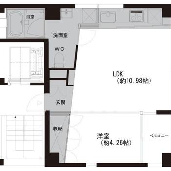 1LDK。5階フロアはこのお部屋だけ。