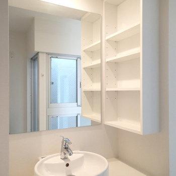 洗面台収納多し。※写真は2階の反転間取り別部屋