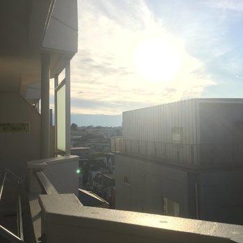 太陽がまぶしい〜空が見えて良いですね!