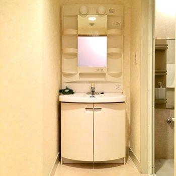 脱衣所の突き当りにしっかりサイズの洗面台。(※写真と文章は5階の同間取り別部屋、モデルルームのものです)
