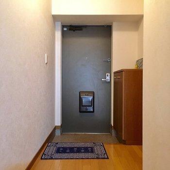 玄関はゆったりと。(※写真と文章は5階の同間取り別部屋、モデルルームのものです)