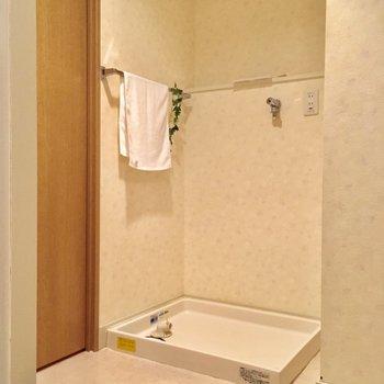 入って左側には洗濯機置場もあります。(※写真と文章は5階の同間取り別部屋、モデルルームのものです)