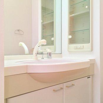 ホテルライクな洗面台。お花を飾りたいな〜※写真は2階の別間取り別部屋です