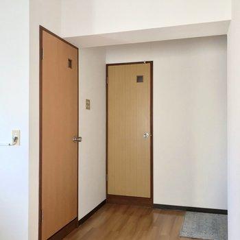 玄関側には扉が2つ。手前が脱衣所、奥がトイレです。
