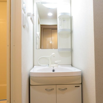 洗面台で身だしなみを(※写真は9階の反転間取り別部屋のものです)