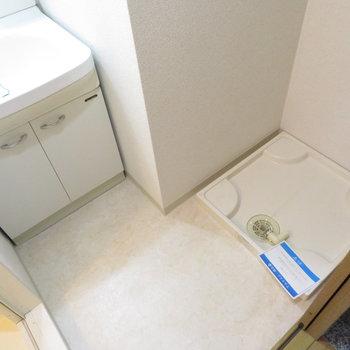 洗面脱衣所もあります(※写真は9階の反転間取り別部屋のものです)