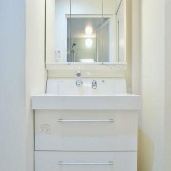 大きな独立洗面。3面鏡付き!