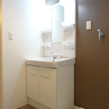 独立洗面台と、横に洗濯機置き場。