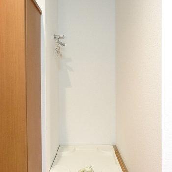 玄関すぐ左に洗濯機置き場