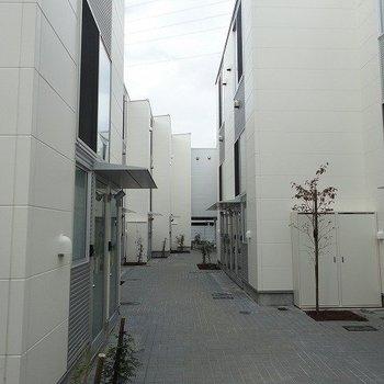 スタイリッシュな建物が並びます。