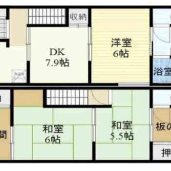 1階は洋室、2階は和室の間取り。