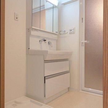 洗面台は清潔感のあるシャンプードレッサー。