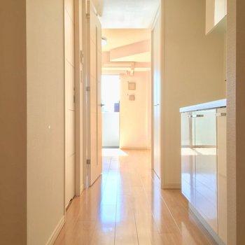 玄関から明るいお部屋方面へ※写真はクリーニング前です