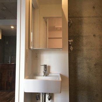 まずは洗面台!鏡、収納棚です