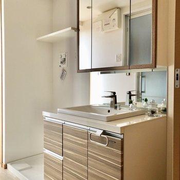 大きな洗面台と洗濯機置場は隣同士。