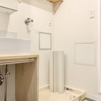 洗剤などを置いておける棚もついてますよ◎