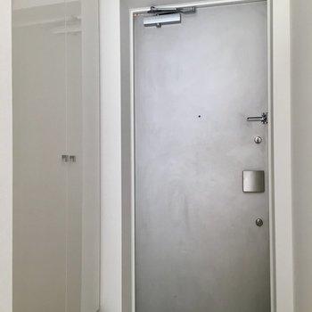 玄関ドアも左の靴収納の扉もキレイです。