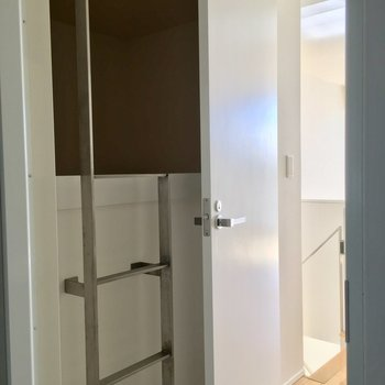 洗面後ろに謎のはしごが。