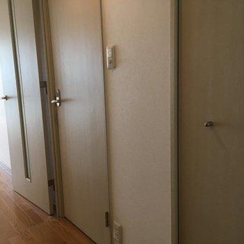 廊下はこんな並び。奥の扉がサニタリーへ続きます!※写真は2階の同間取り別部屋です