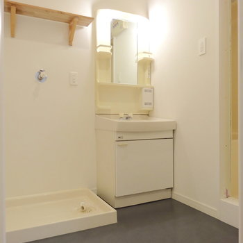 広めの脱衣所に独立洗面台と洗濯機置き場。(※写真は前回掲載時のものです)