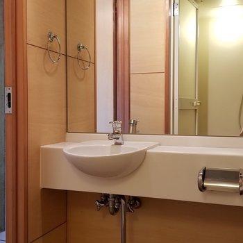 洗面台は大きな鏡が嬉しい。※写真は別部屋です