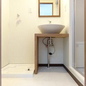 脱衣所まであるんです。洗面台の収納は下部分を工夫して