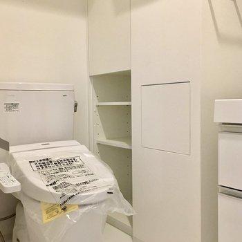 サニタリースペース。トイレ横に収納たっぷりで使いやすいですね!