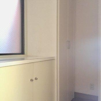 玄関は二つ下駄箱あり※電気のつかない中での撮影です