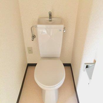 トイレは丸いのがちょこんと