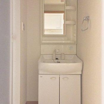 背面にサニタリー。独立洗面台がうれしいね!