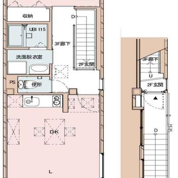 2階に玄関があって、お部屋は3階部分♪
