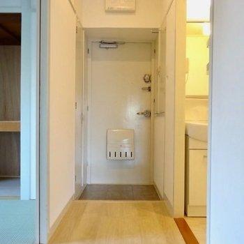 玄関には両サイドに収納あり。