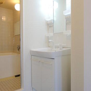 洗面台は既存ですが、まだまだ綺麗!