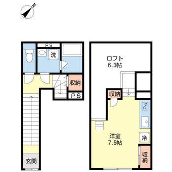 3層に空間が分かれた1R