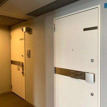 玄関扉からスタイリッシュ(※写真は7階の反転間取り別部屋、モデルルームのものです)