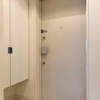 玄関スペースには(※写真は7階の反転間取り別部屋、モデルルームのものです)