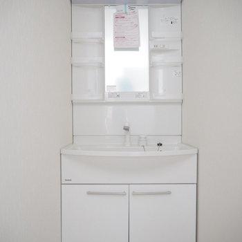 サニタリーとトイレの真ん中にある独立洗面台。