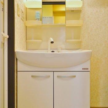 大きな洗面台は使いやすいですね。