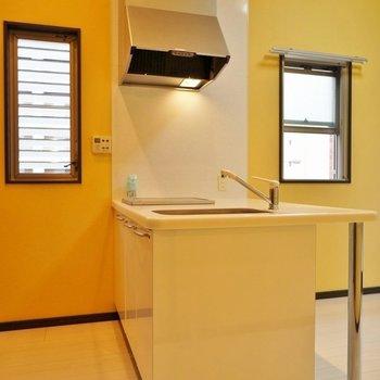 窓が両サイドにある対面カウンターキッチン。